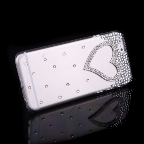 Luxury Clear Transparent Crystal Bling Rhinestone Diamond Love Heart Case Hard Back Cover Protective Shell for Apple iPhone 6