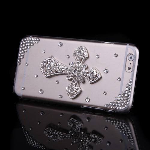 Luxo clara transparente cristal Bling Rhinestone diamante Cruz caso difícil volta cobrir casca protetora para Apple iPhone 6