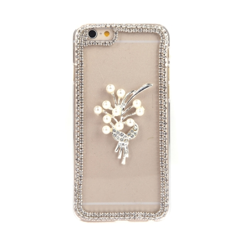 Luxury Clear Transparent Crystal Circle Bling Rhinestone Diamond Pearl Flower Case Hard Back Cover Protective Shell for Apple iPhone 6