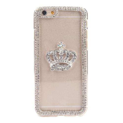 Luxo clara transparente cristal círculo Bling Rhinestone diamante coroa caso difícil volta cobrir casca protetora para Apple iPhone 6