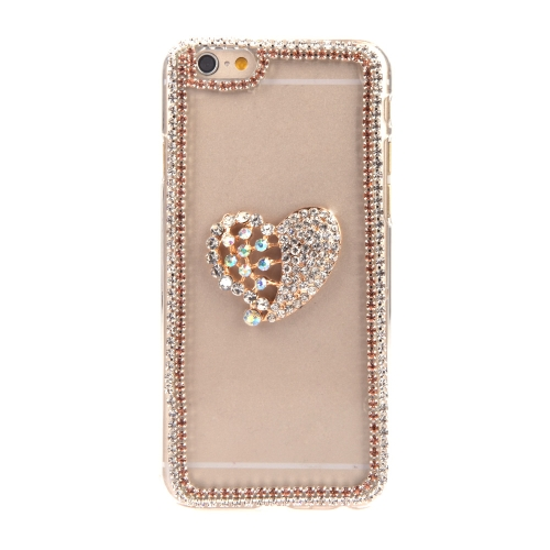 Luxury Clear Transparent Crystal Circle Bling Rhinestone Diamond Love Heart Case Hard Back Cover Protective Shell for Apple iPhone 6