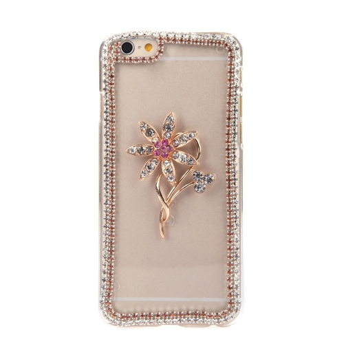 高級クリア透明円スワロフ スキー ラインス トーン ダイヤモンド花ケース ハード バック カバー保護用クリスタル シェル アップルの iPhone 6