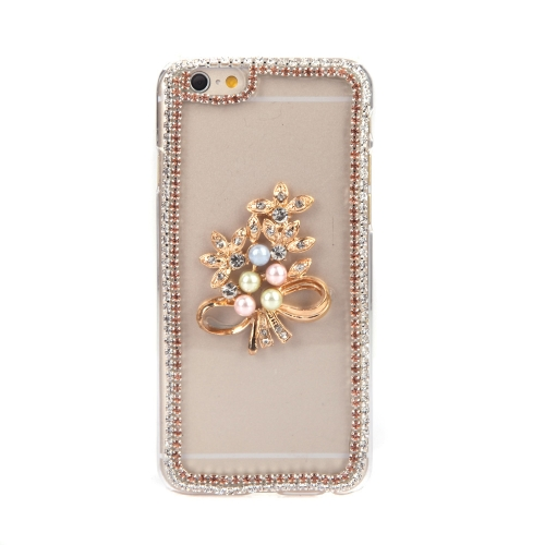 Luxury Clear Transparent Crystal Circle Bling Rhinestone Diamond Pearl Gold Flower Case Hard Back Cover Protective Shell for Apple iPhone 6