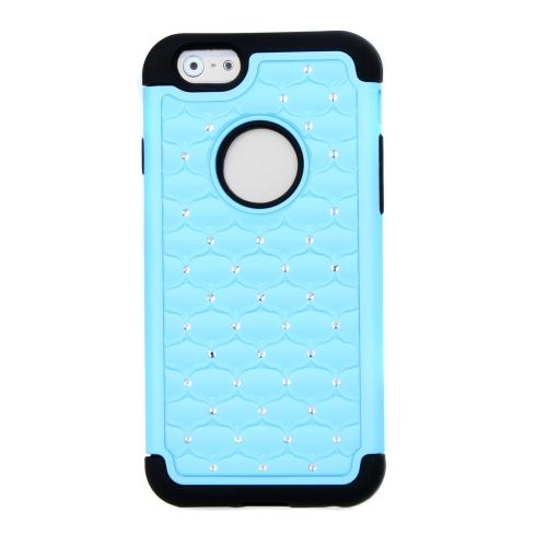 Silicone de camada dupla destacável & PC protetora Case capa Bling decoração de cristal para Apple iPhone 6 azul