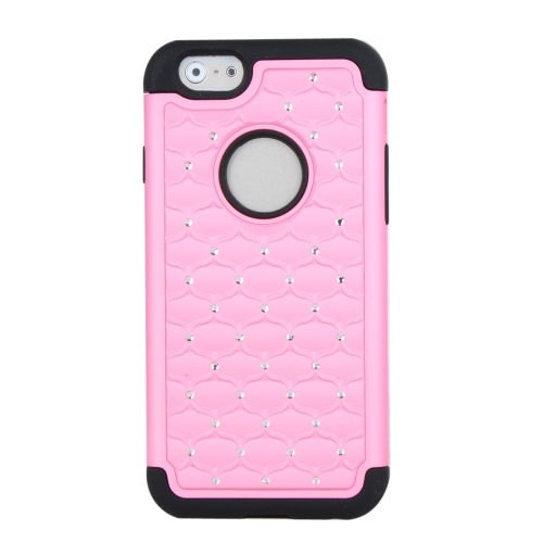 Detachable Dual Layer Silicone & PC Protective Case Cover Bling Crystal Decoration for Apple iPhone 6 Pink
