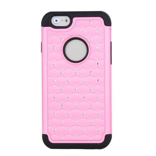 Silicone de camada dupla destacável & PC protetora Case capa Bling decoração de cristal para Apple iPhone 6 rosa