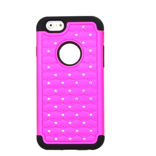 Destacável dupla camada de Silicone & PC protetora caso cobrir Bling decoração de cristal para Apple iPhone 6 rosa vermelha