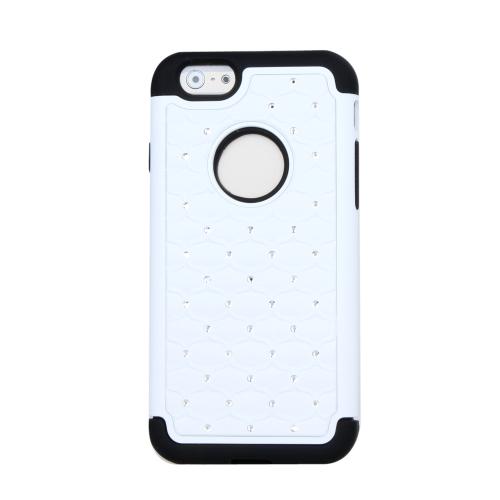 Destacável dupla camada de Silicone & PC protetora caso cobrir Bling decoração de cristal para Apple iPhone 6 branco