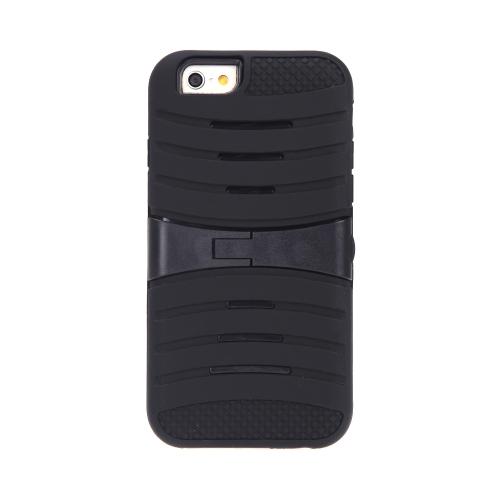 取り外し可能なデュアル層シリコン ・ PC 背面ケース保護シェル カバー スタンド付き iPhone 6 ブラック