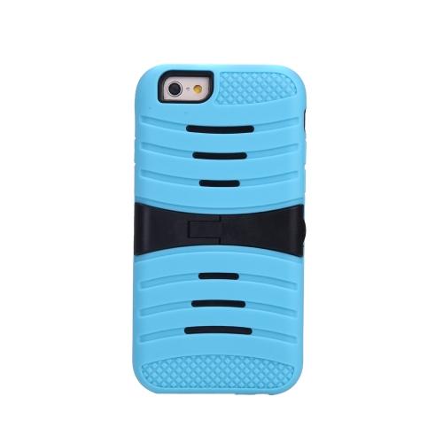 Silicone de camada dupla destacável & PC de volta caso casca protetora cobrem com suporte para iPhone azul 6
