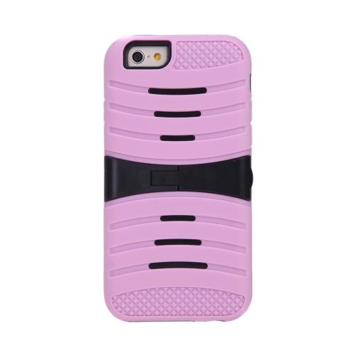 Silicone de camada dupla destacável & PC de volta caso casca protetora cobrem com suporte para iPhone rosa 6