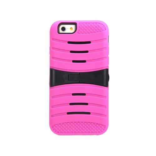 Silicone de camada dupla destacável & PC de volta caso casca protetora cobrem com suporte para iPhone 6 Rose