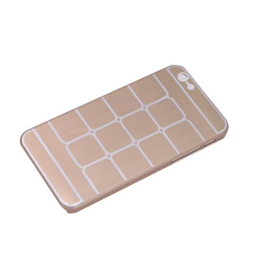 Lattice Grid Protective Brushed Aluminum Hard Back Case Cover Skin for Apple iPhone 6 Golden