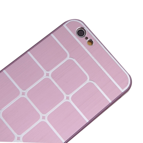 Lattice Grid Protective Brushed Aluminum Hard Back Case Cover Skin for Apple iPhone 6 Pink