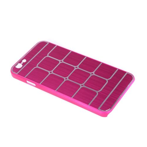 Lattice de grade escovado alumínio duro voltar caso cobrir pele protetora para Apple iPhone 6 rosa vermelha