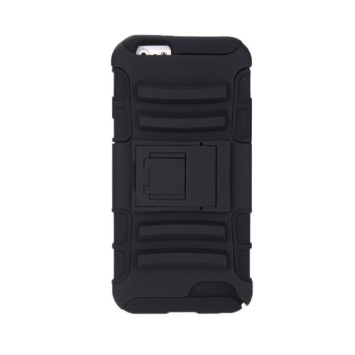 IPhone 6 の 4.7 ' デュアル層シリコン ・ PC 戻るケース保護シェル カバー スタンド黒