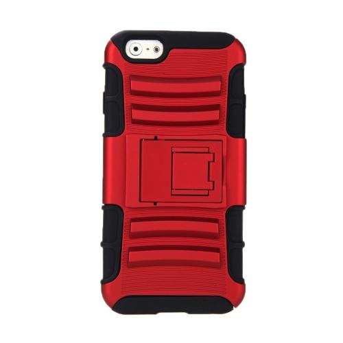 Para o iPhone 6 4,7 ' dupla camada Silicone & PC caso protetor Shell contracapa com pé vermelho
