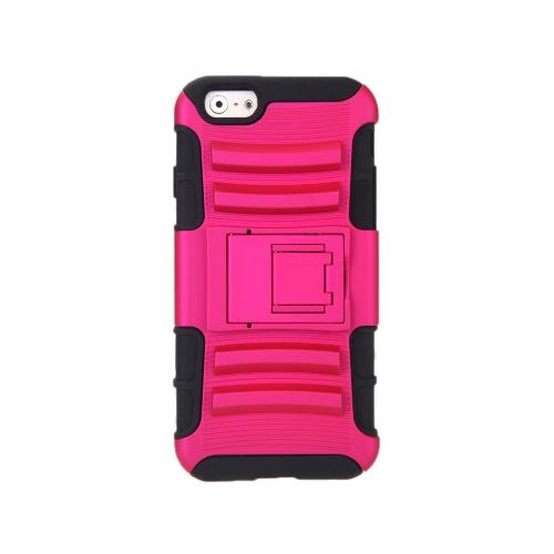 Para o iPhone 6 4,7 ' dupla camada Silicone & PC caso protetor Shell contracapa com pé rosa