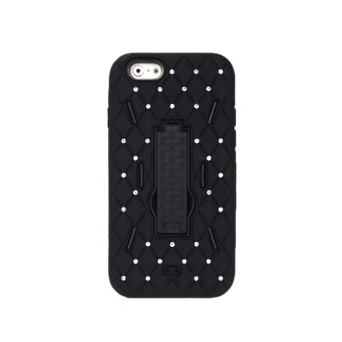 Staccabile doppio strato in Silicone & PC Back caso protettivo guscio Cover con decorazione di cristallo Bling Stand per iPhone 6 nero