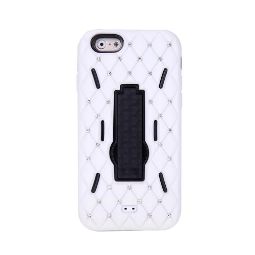 Silicone de camada dupla destacável & Mobile PC telefone tampa traseira Shell Case protetora com decoração de cristal Bling Stand para iPhone branco 6