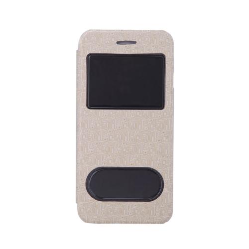 Lusso Slim Flip in pelle Dual doppia vista finestra labirinto grano caso duro indietro Cover guscio protettivo per Apple iPhone 6 4,7