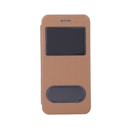 Luxury Slim Flip Leather Dual Double View Window Maze Grain Case Hard Back Cover Protective Shell for Apple iPhone 6 4.7