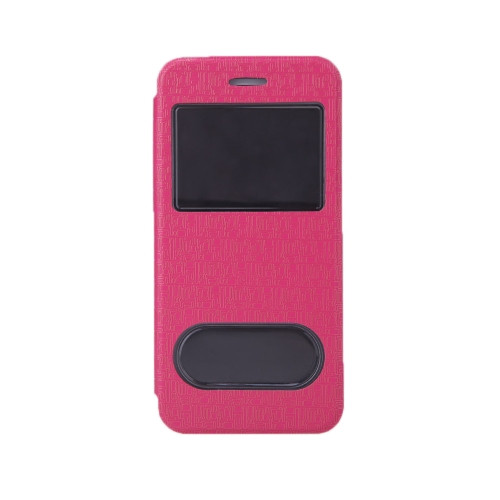 Luxo Slim Flip couro duplo duplo Vista janela labirinto grão caso difícil volta cobrir casca protetora para Apple iPhone 6 4,7
