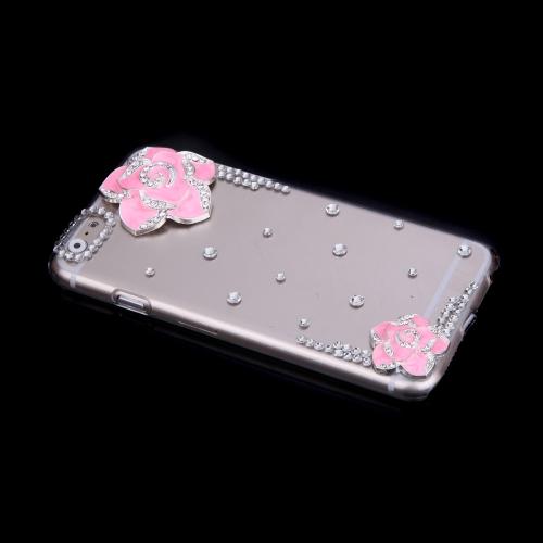 高級クリア透明キラキラ ラインス トーン ダイヤモンド ピンク花ケース ハード バック カバー保護用クリスタル シェル アップルの iPhone 6 ピンク