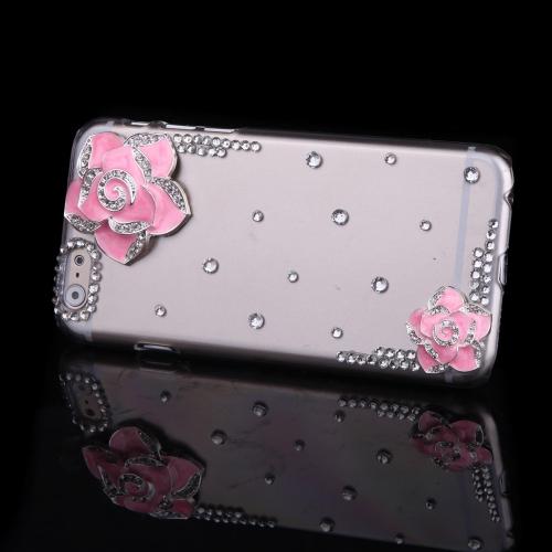 Luxo clara transparente cristal Bling Rhinestone diamante rosa flor caso difícil volta cobrir casca protetora para Apple iPhone 6 rosa