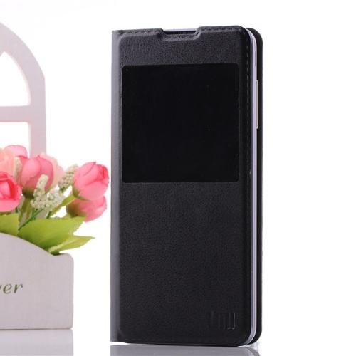 UMI C1 PU téléphone portable en cuir Ultra Slim Housse Etui vue unique fenêtre coque de protection avec support noir