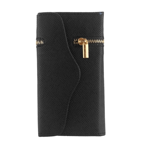 Unique Zipper PU Leather Wallet Magnetic Flip Hard Case Cover Card Holder for Apple iPhone 6 Plus Black