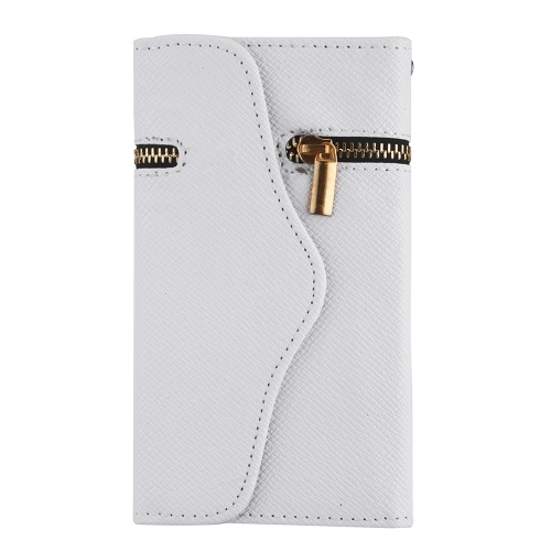 Unique Zipper PU Leather Wallet Magnetic Flip Hard Case Cover Card Holder for Apple iPhone 6 Plus White