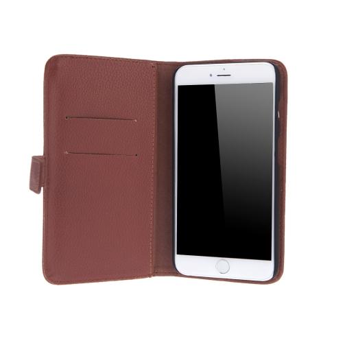 Moda cartão titular carteira caso Flip Stand tampa de couro para iPhone 6 Plus 6S Plus marrom