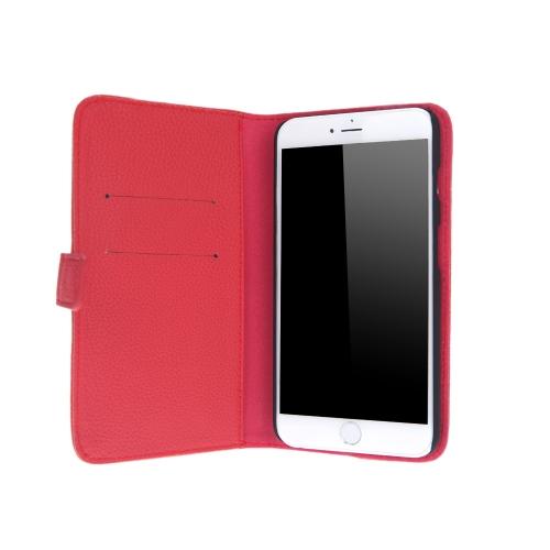 ファッション カード ホルダー財布革ケース フリップ スタンド カバー iPhone 6 プラス赤