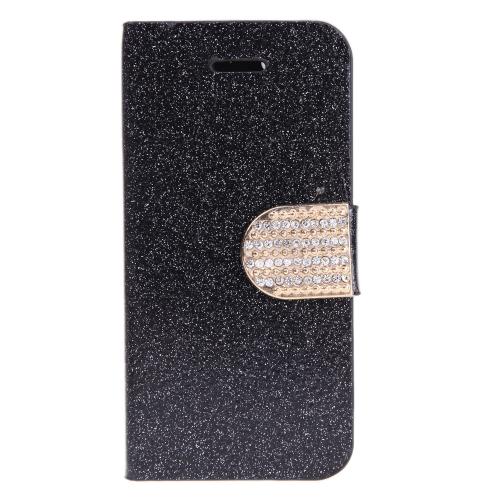 Moda portafoglio Flip in pelle Stand custodia con supporto di carta per iPhone 6 Plus nero
