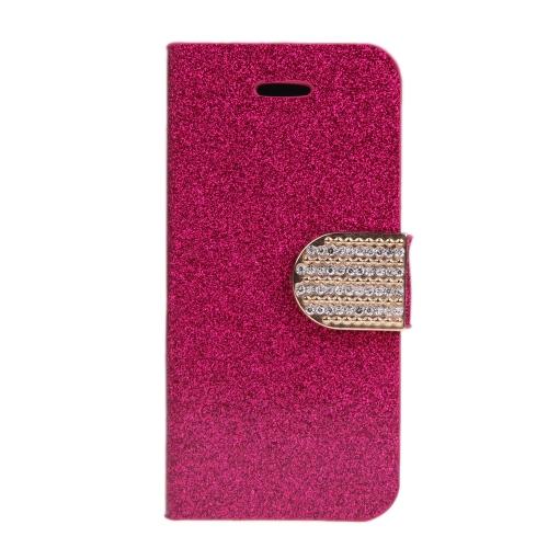 Moda carteira caso Flip Stand tampa de couro com suporte de cartão para iPhone 6 Plus 6S Plus rosa