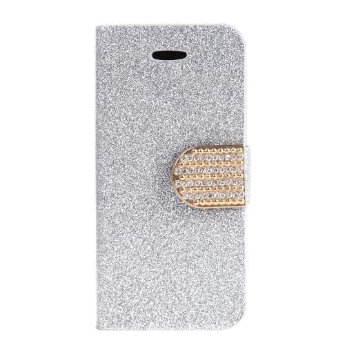Moda carteira caso Flip Stand tampa de couro com suporte de cartão para iPhone 6 Plus 6S Plus prata