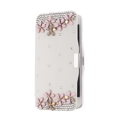 Magnético Flip PU couro duro pele Ultra Slim bolsa carteira caso cobrir Bling strass cristal de diamante para 5,5