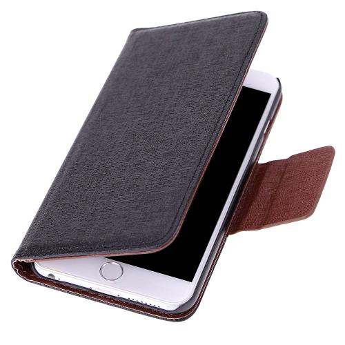 Luxo Flip PU couro duro carteira caso cobrir Textured grão bolsa ficar dobrado magnética Clip para Apple iPhone 6 Plus 5,5 polegadas