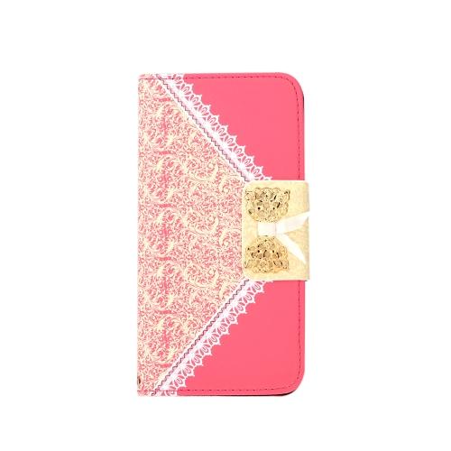 Moda carteira PU Flip flor proteção caso tampa de couro com suporte de cartão para iPhone 6 Plus 6S Plus