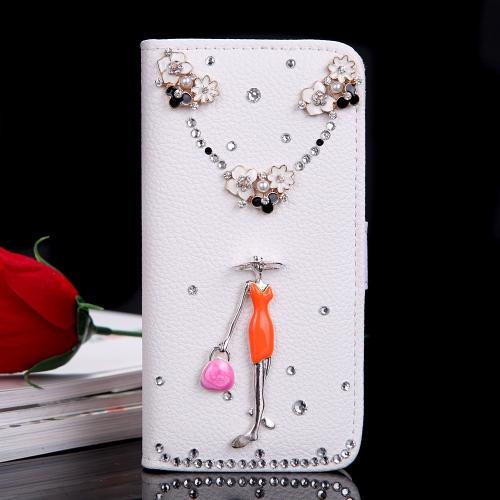 Fashion Flip en cuir PU de Bling Fleur Wallet Housse de protection avec porte-cartes pour iPhone 6 Plus
