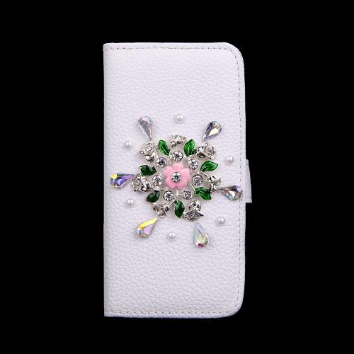 Moda Flip PU couro Bling flor carteira protetora caso cubra com suporte de cartão para iPhone 6 Plus 6S Plus
