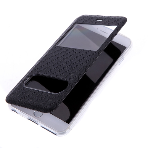 Fashion Dual Double View Window Slim Flip PU Leather Protective Case Cover with Stand for iPhone 6 Plus