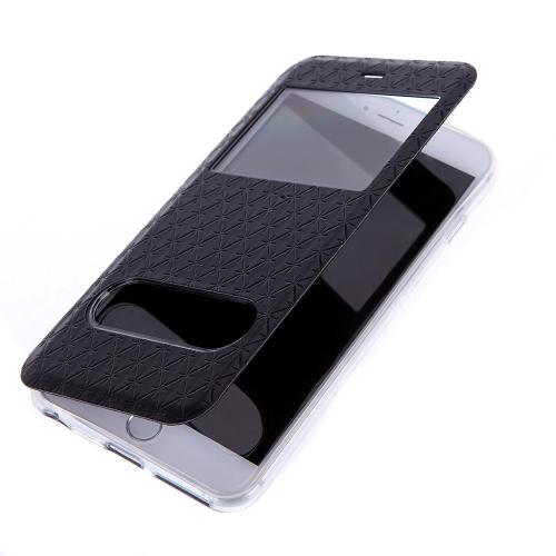 Moda Dual Doppia vista finestra Slim PU cuoio Flip protettivo caso coprire con Stand per iPhone 6 Plus