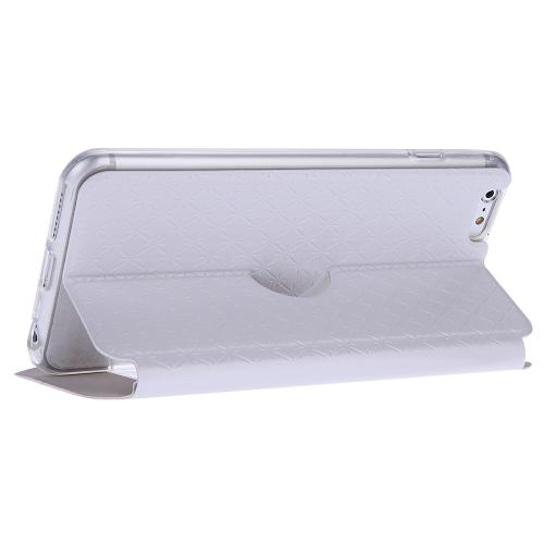 Moda duplo duplo Vista janela Slim Flip PU protetora caso tampa de couro com suporte para iPhone 6 Plus