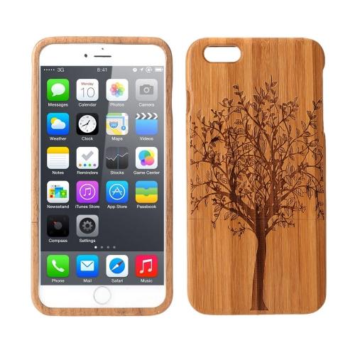 Étui à rabat à la mode en bambou léger mode environnementale modèle protection retour Housse étui pour l'iPhone 6 Plus
