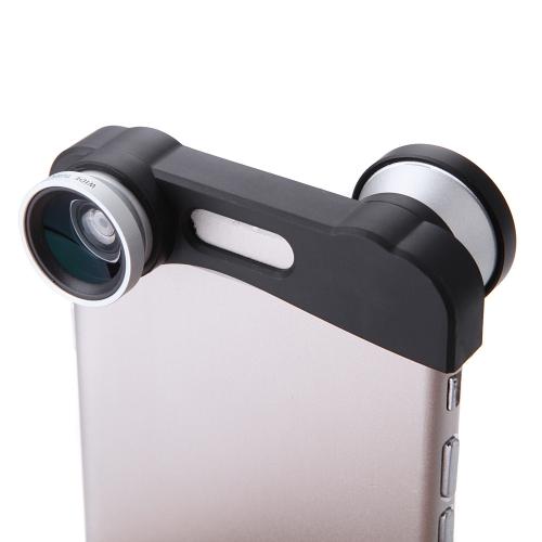 Telefone foto lente 180° câmera Fisheye 0,67 X largo ângulo 10 X Macro definido com saco para iPhone 6 4,7