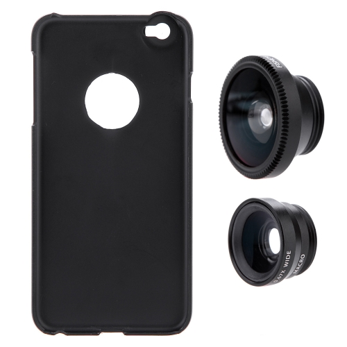 3-in-1 telefono foto lente 180° Fisheye 0.67 X ampio angolo 10 X Macro Set con custodia per iPhone 6 Plus 6S Plus