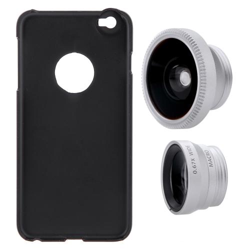 3-em-1 telefone foto lente Fisheye 0,67 X largo ângulo 10 X Macro definido com caso de 180° para iPhone 6 Plus 6S Plus