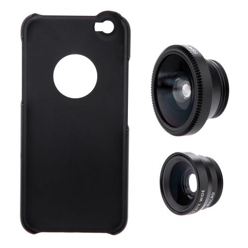 3-in-1 Объектив для Телефонной Фотосъемки 180° Рыбий Глаз 0.67X Широкоугольный 10X Макро-объектив Набор с Чехолом для iPhone 6 4.7